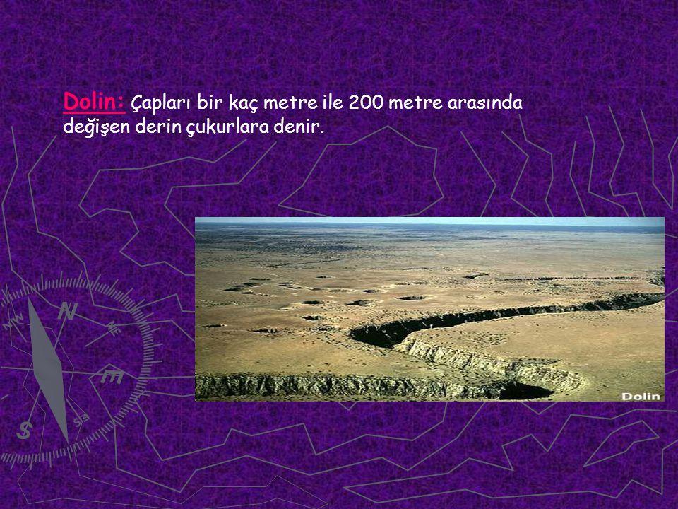 Dolin: Çapları bir kaç metre ile 200 metre arasında