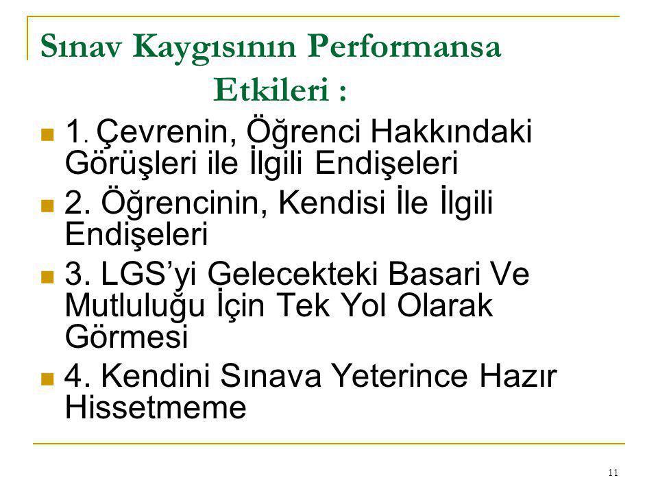 Sınav Kaygısının Performansa Etkileri :