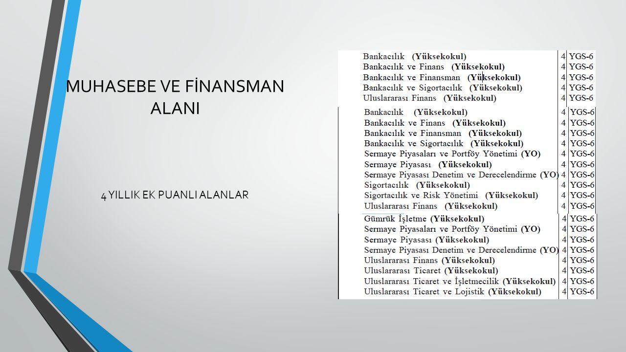 MUHASEBE VE FİNANSMAN ALANI