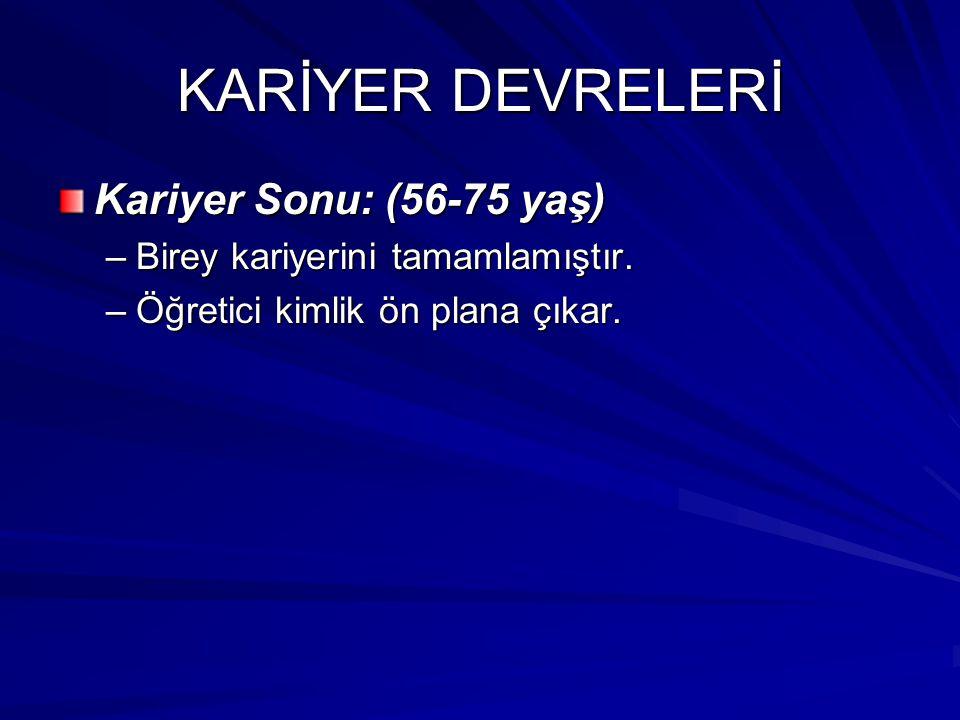 KARİYER DEVRELERİ Kariyer Sonu: (56-75 yaş)