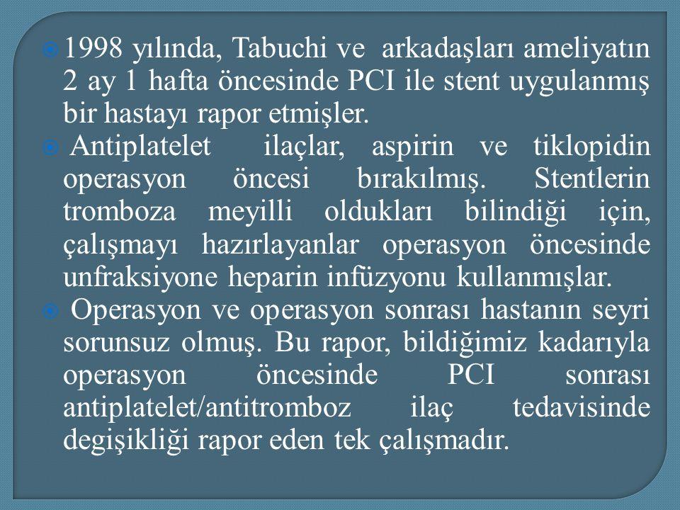 1998 yılında, Tabuchi ve arkadaşları ameliyatın 2 ay 1 hafta öncesinde PCI ile stent uygulanmış bir hastayı rapor etmişler.