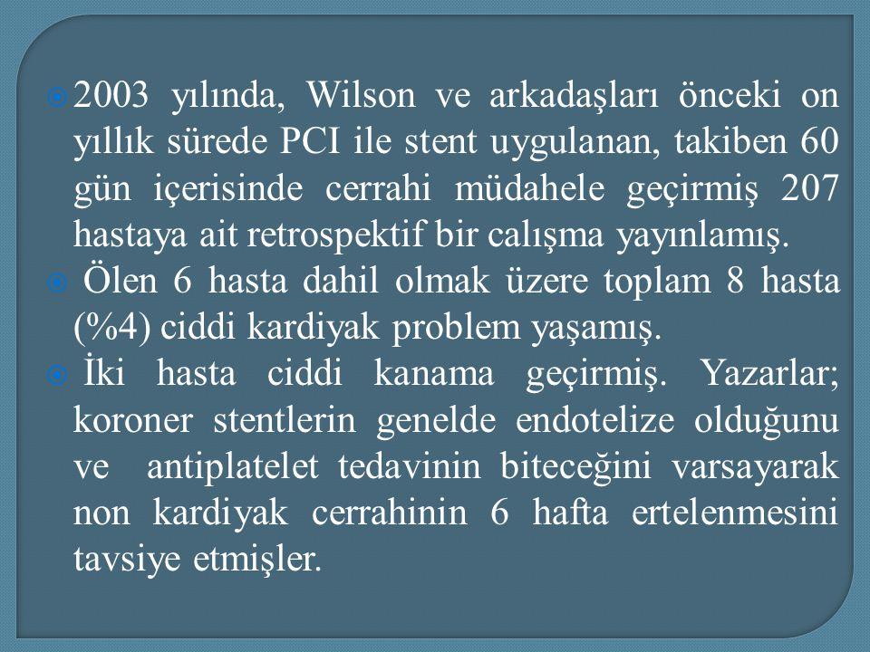 2003 yılında, Wilson ve arkadaşları önceki on yıllık sürede PCI ile stent uygulanan, takiben 60 gün içerisinde cerrahi müdahele geçirmiş 207 hastaya ait retrospektif bir calışma yayınlamış.