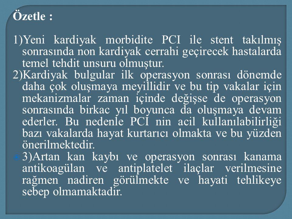 Özetle : 1)Yeni kardiyak morbidite PCI ile stent takılmış sonrasında non kardiyak cerrahi geçirecek hastalarda temel tehdit unsuru olmuştur.