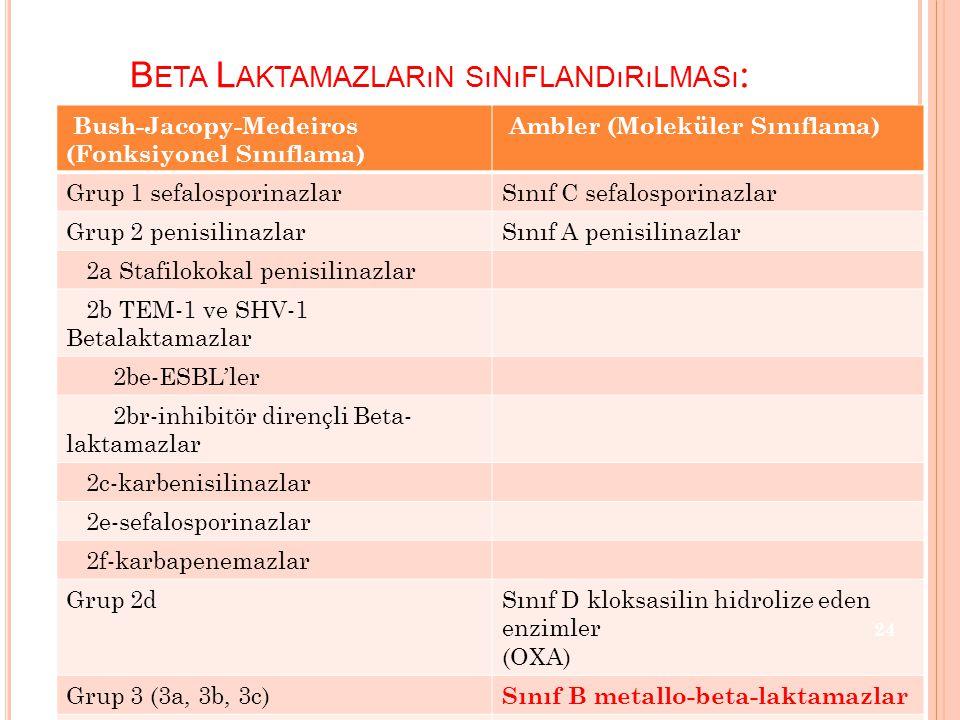 Beta Laktamazların sınıflandırılması:
