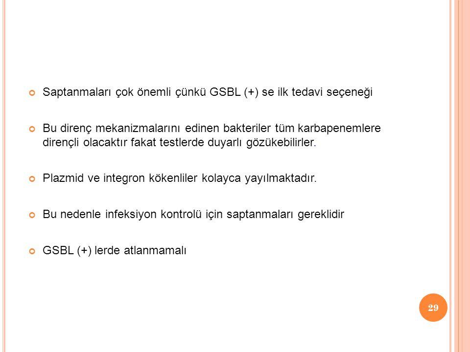 Saptanmaları çok önemli çünkü GSBL (+) se ilk tedavi seçeneği