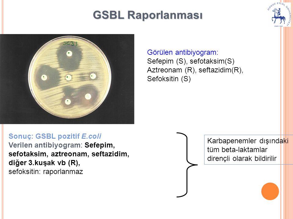 GSBL Raporlanması Görülen antibiyogram: Sefepim (S), sefotaksim(S)