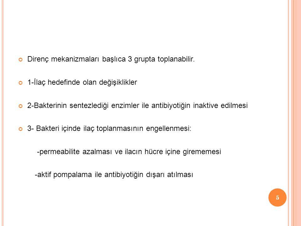 Direnç mekanizmaları başlıca 3 grupta toplanabilir.