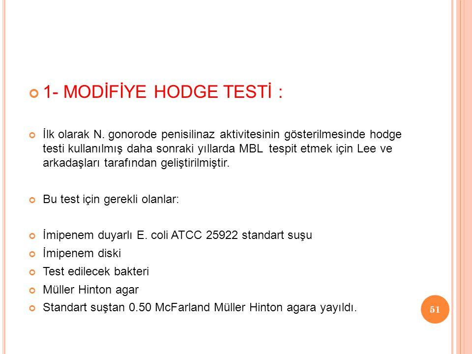 1- MODİFİYE HODGE TESTİ :