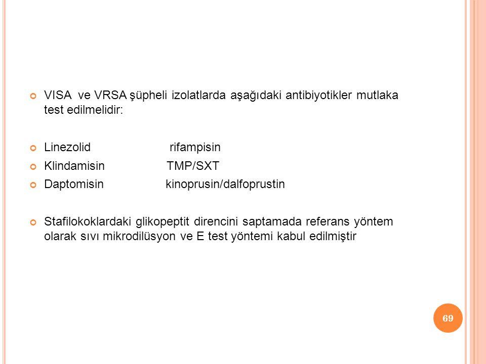 VISA ve VRSA şüpheli izolatlarda aşağıdaki antibiyotikler mutlaka test edilmelidir:
