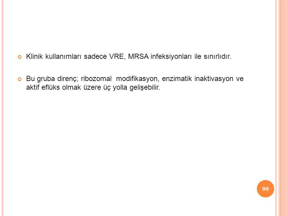 Klinik kullanımları sadece VRE, MRSA infeksiyonları ile sınırlıdır.
