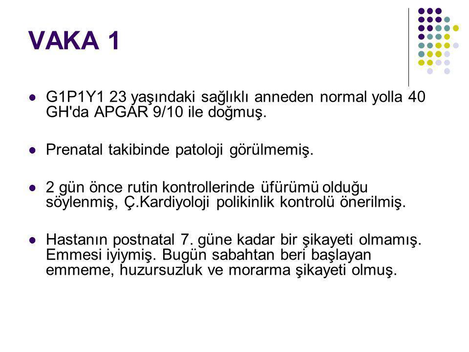 VAKA 1 G1P1Y1 23 yaşındaki sağlıklı anneden normal yolla 40 GH da APGAR 9/10 ile doğmuş. Prenatal takibinde patoloji görülmemiş.