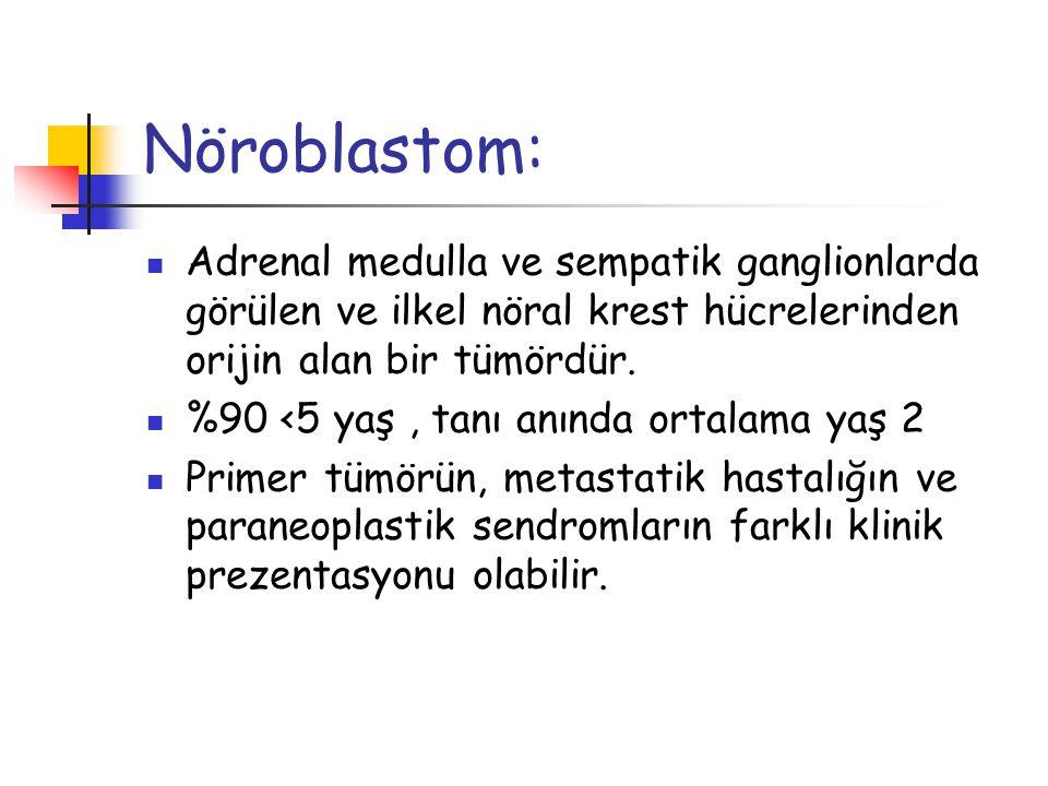 Nöroblastom: Adrenal medulla ve sempatik ganglionlarda görülen ve ilkel nöral krest hücrelerinden orijin alan bir tümördür.