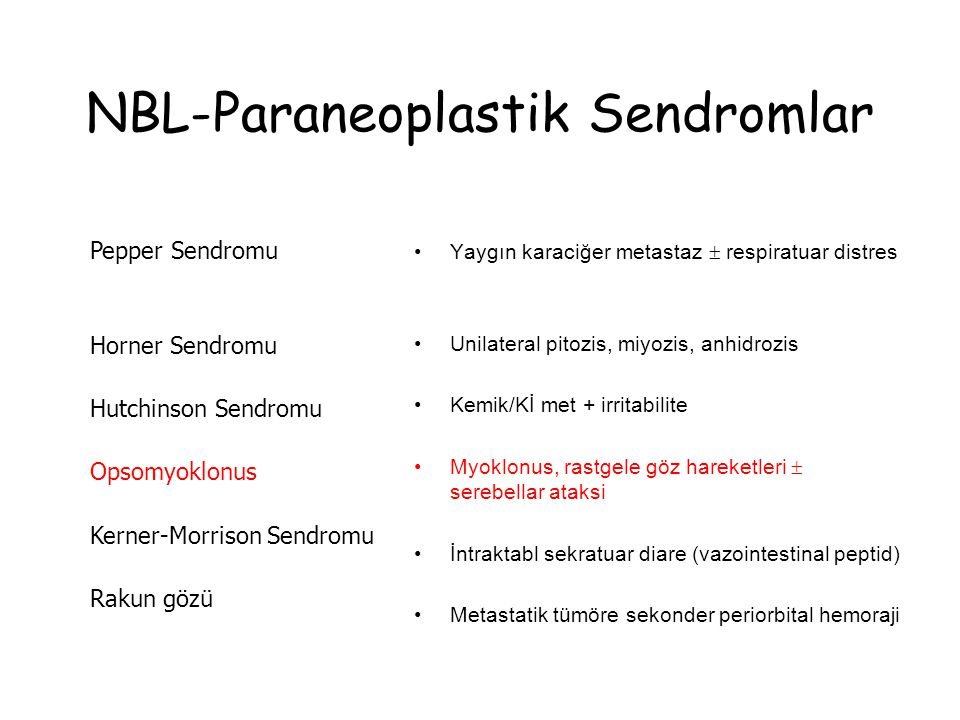 NBL-Paraneoplastik Sendromlar