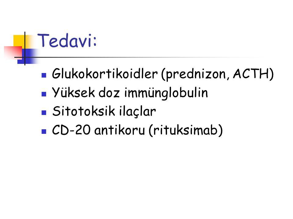 Tedavi: Glukokortikoidler (prednizon, ACTH) Yüksek doz immünglobulin