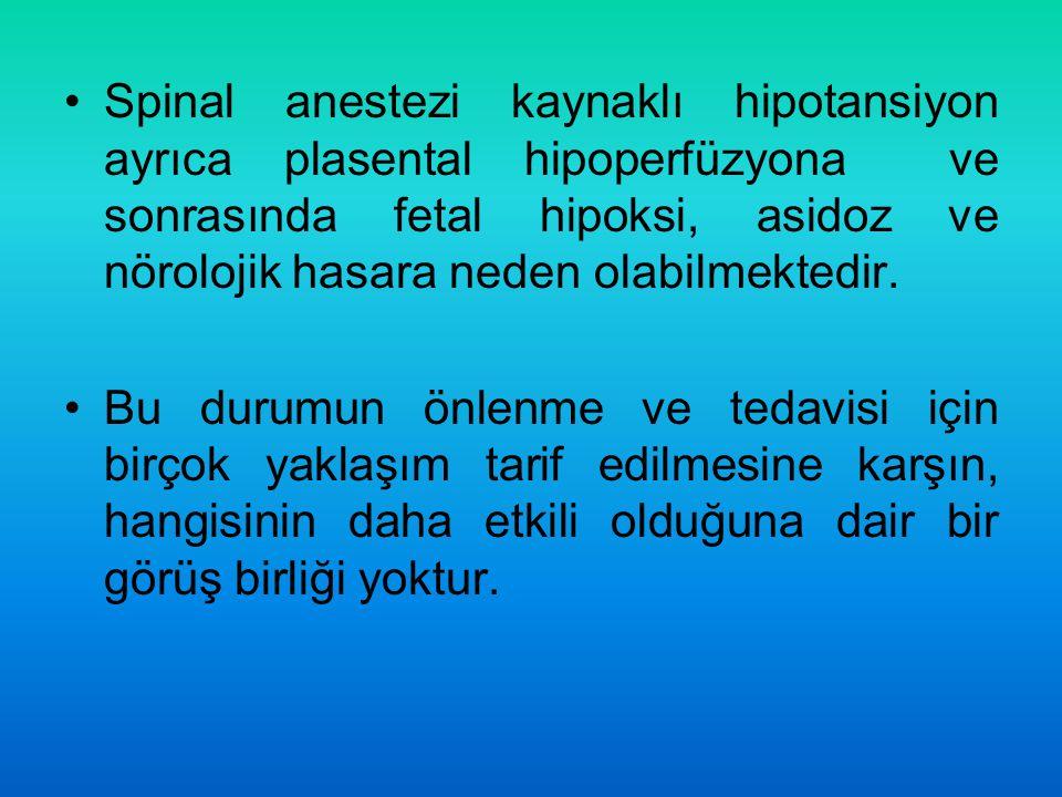 Spinal anestezi kaynaklı hipotansiyon ayrıca plasental hipoperfüzyona ve sonrasında fetal hipoksi, asidoz ve nörolojik hasara neden olabilmektedir.