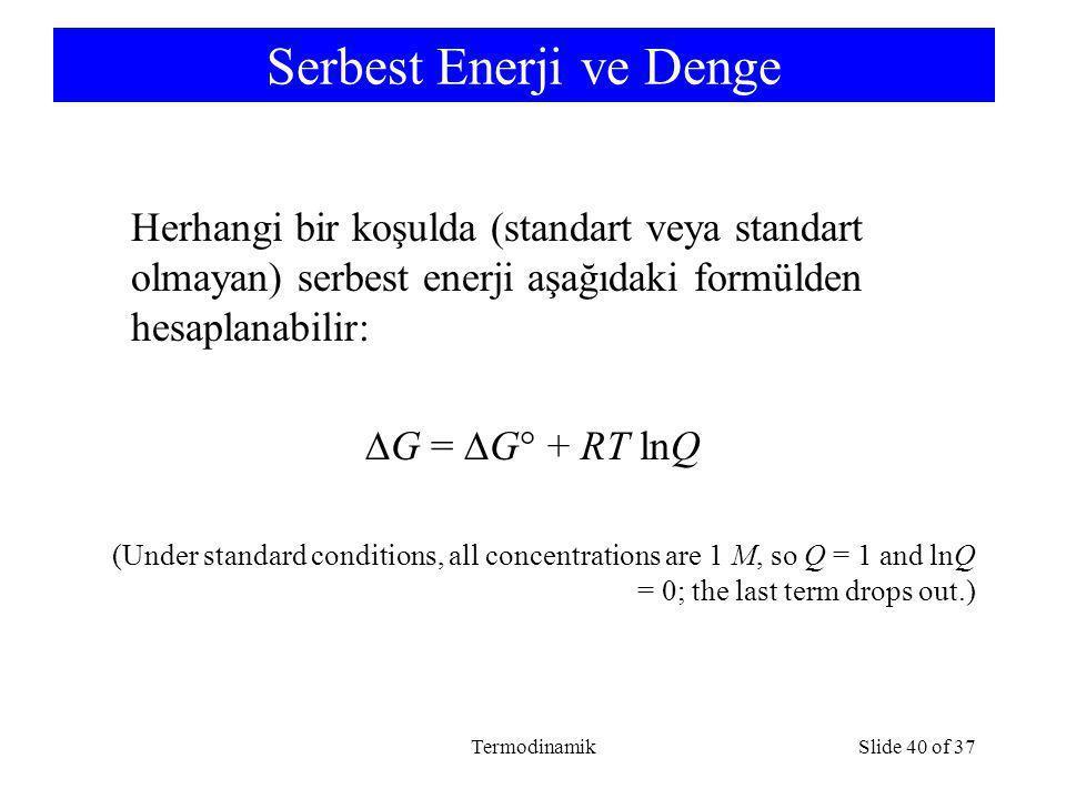 Serbest Enerji ve Denge