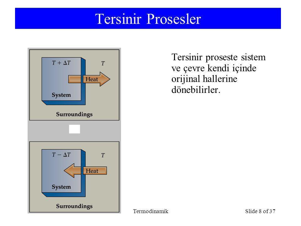Tersinir Prosesler Tersinir proseste sistem ve çevre kendi içinde orijinal hallerine dönebilirler.