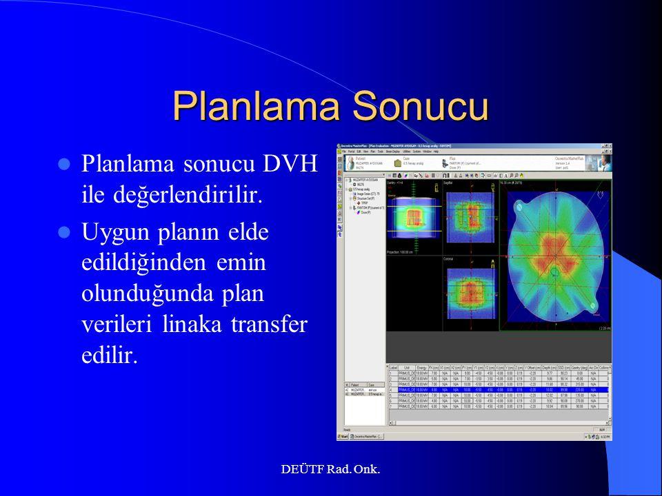 Planlama Sonucu Planlama sonucu DVH ile değerlendirilir.