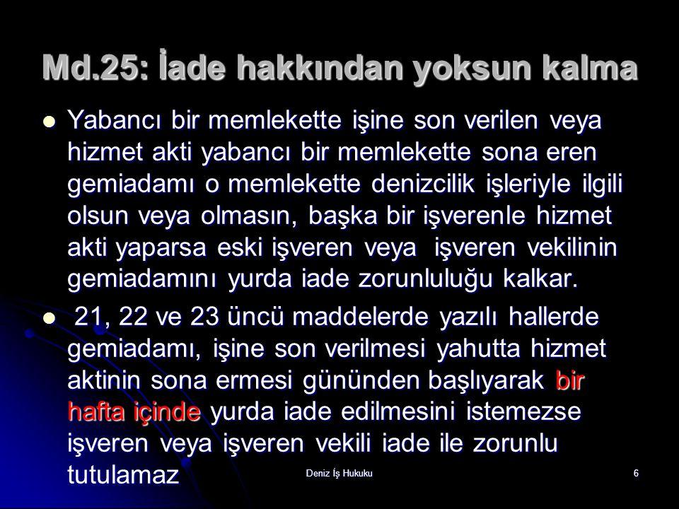 Md.25: İade hakkından yoksun kalma