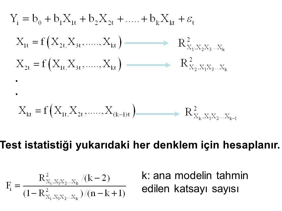 Test istatistiği yukarıdaki her denklem için hesaplanır.