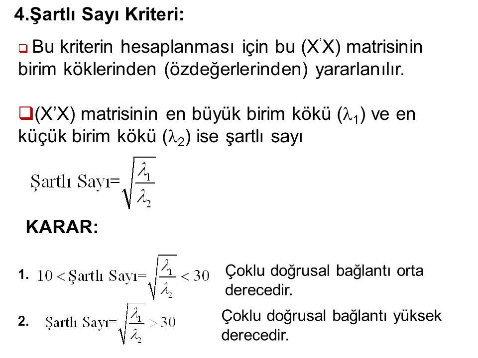 4.Şartlı Sayı Kriteri: Bu kriterin hesaplanması için bu (X'X) matrisinin birim köklerinden (özdeğerlerinden) yararlanılır.