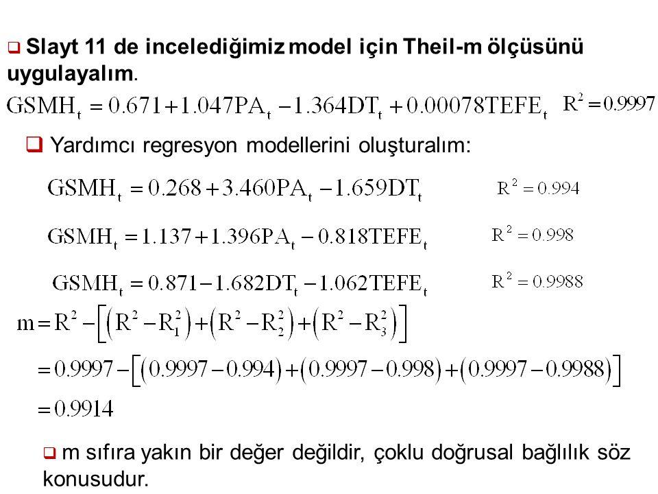 Yardımcı regresyon modellerini oluşturalım: