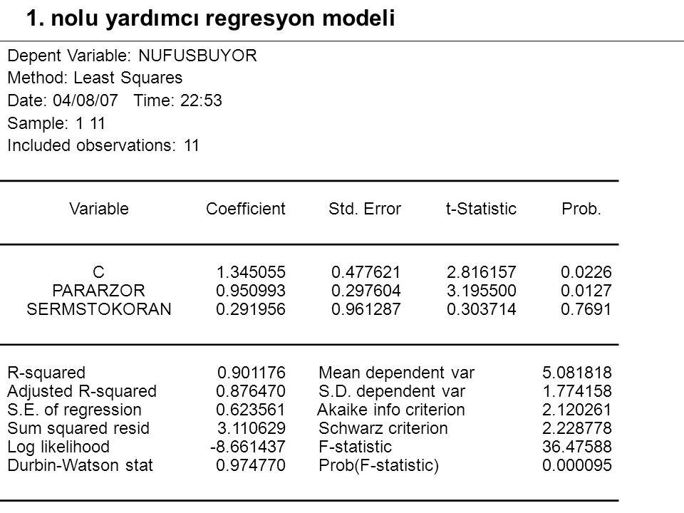 1. nolu yardımcı regresyon modeli