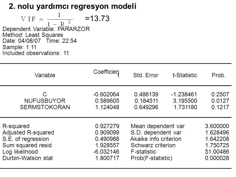 2. nolu yardımcı regresyon modeli