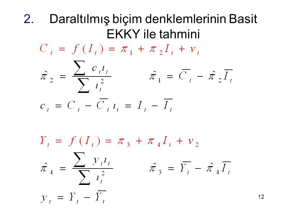 Daraltılmış biçim denklemlerinin Basit EKKY ile tahmini