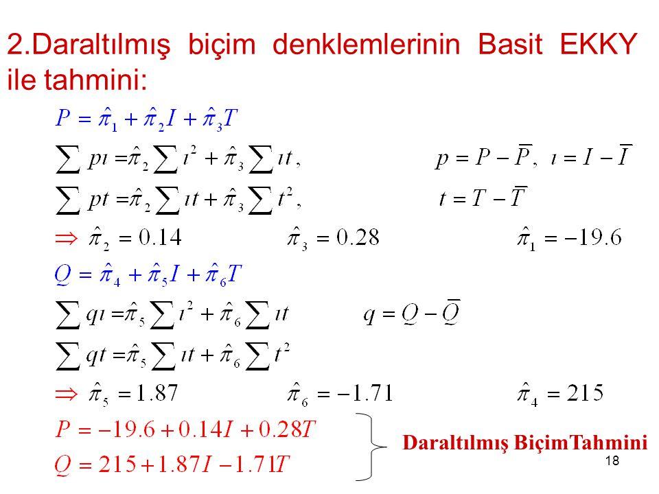 2.Daraltılmış biçim denklemlerinin Basit EKKY ile tahmini: