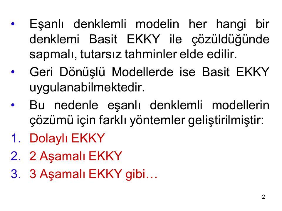 Eşanlı denklemli modelin her hangi bir denklemi Basit EKKY ile çözüldüğünde sapmalı, tutarsız tahminler elde edilir.