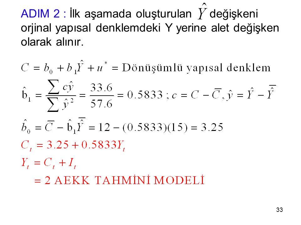 ADIM 2 : İlk aşamada oluşturulan değişkeni orjinal yapısal denklemdeki Y yerine alet değişken olarak alınır.