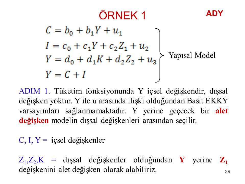 ÖRNEK 1 ADY Yapısal Model