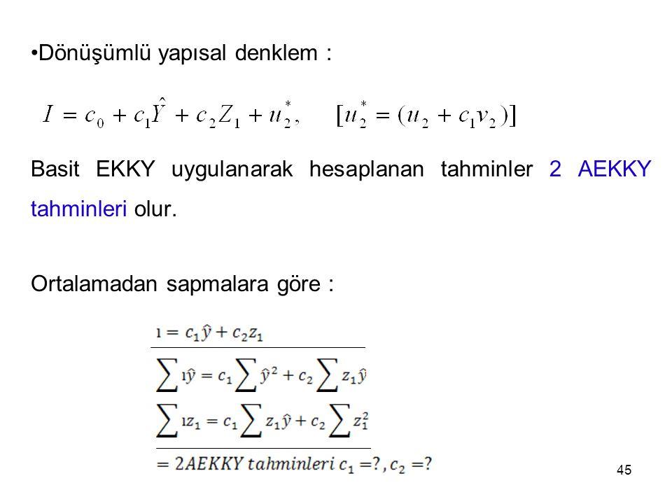 Dönüşümlü yapısal denklem :