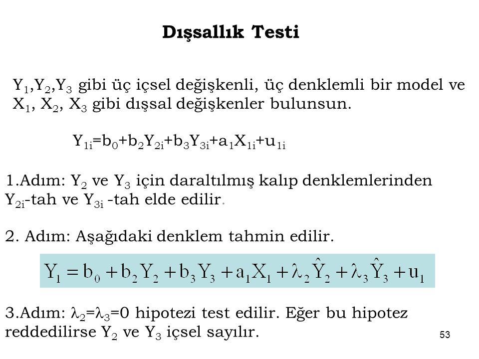 Dışsallık Testi Y1,Y2,Y3 gibi üç içsel değişkenli, üç denklemli bir model ve X1, X2, X3 gibi dışsal değişkenler bulunsun.