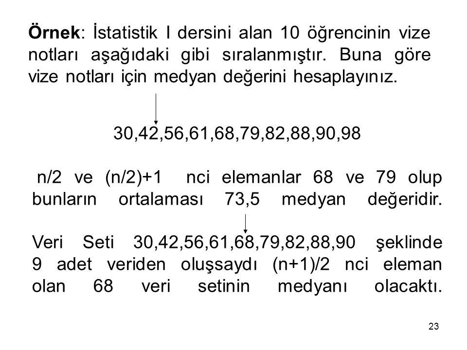 Örnek: İstatistik I dersini alan 10 öğrencinin vize notları aşağıdaki gibi sıralanmıştır. Buna göre vize notları için medyan değerini hesaplayınız.