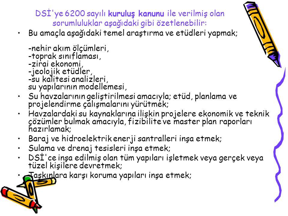 DSİ ye 6200 sayılı kuruluş kanunu ile verilmiş olan sorumluluklar aşağıdaki gibi özetlenebilir: