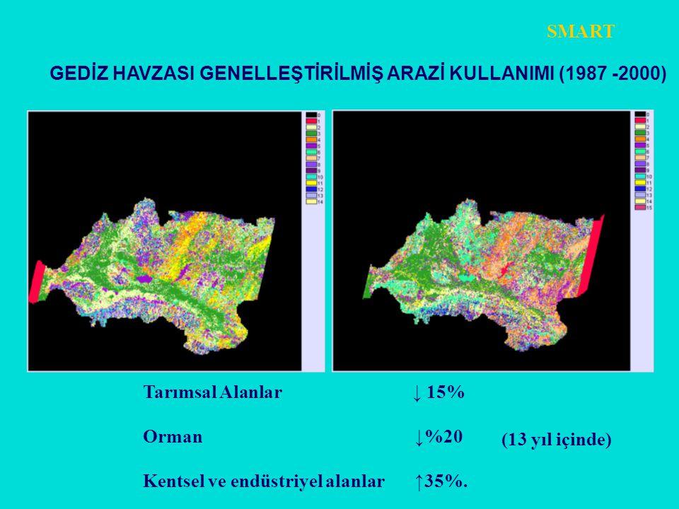 SMART GEDİZ HAVZASI GENELLEŞTİRİLMİŞ ARAZİ KULLANIMI (1987 -2000) Tarımsal Alanlar ↓ 15%