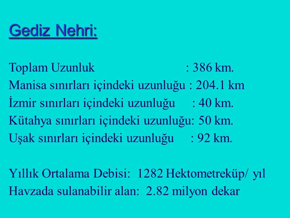 Gediz Nehri: Toplam Uzunluk : 386 km.