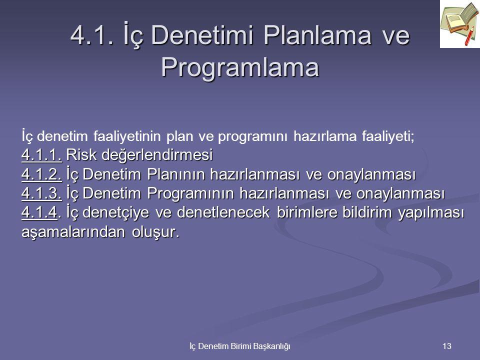4.1. İç Denetimi Planlama ve Programlama