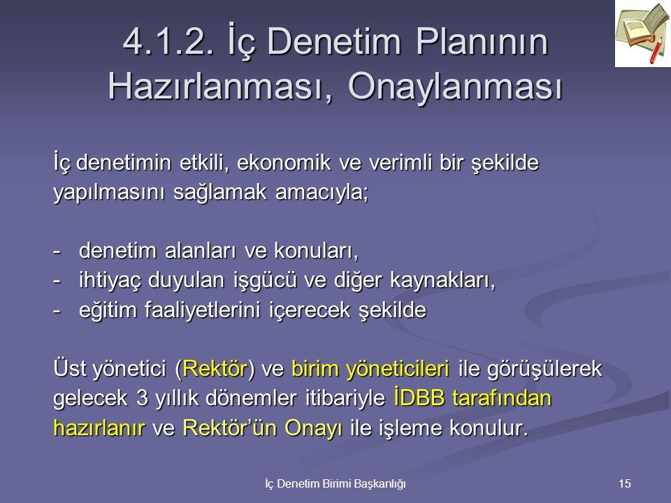 4.1.2. İç Denetim Planının Hazırlanması, Onaylanması