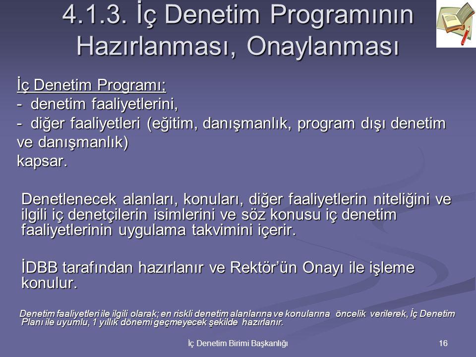 4.1.3. İç Denetim Programının Hazırlanması, Onaylanması