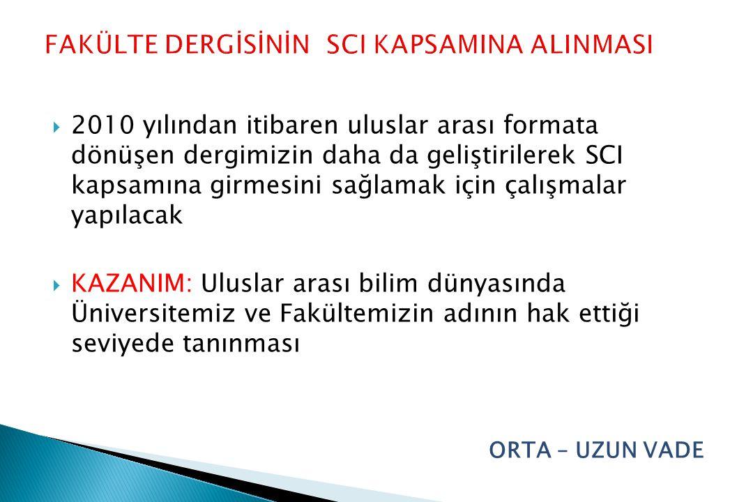 FAKÜLTE DERGİSİNİN SCI KAPSAMINA ALINMASI