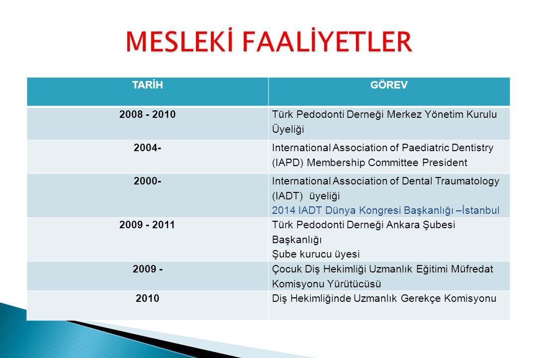 MESLEKİ FAALİYETLER TARİH GÖREV 2008 - 2010