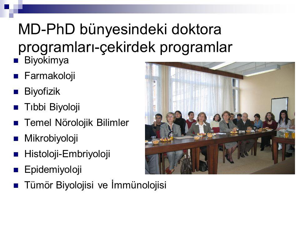 MD-PhD bünyesindeki doktora programları-çekirdek programlar