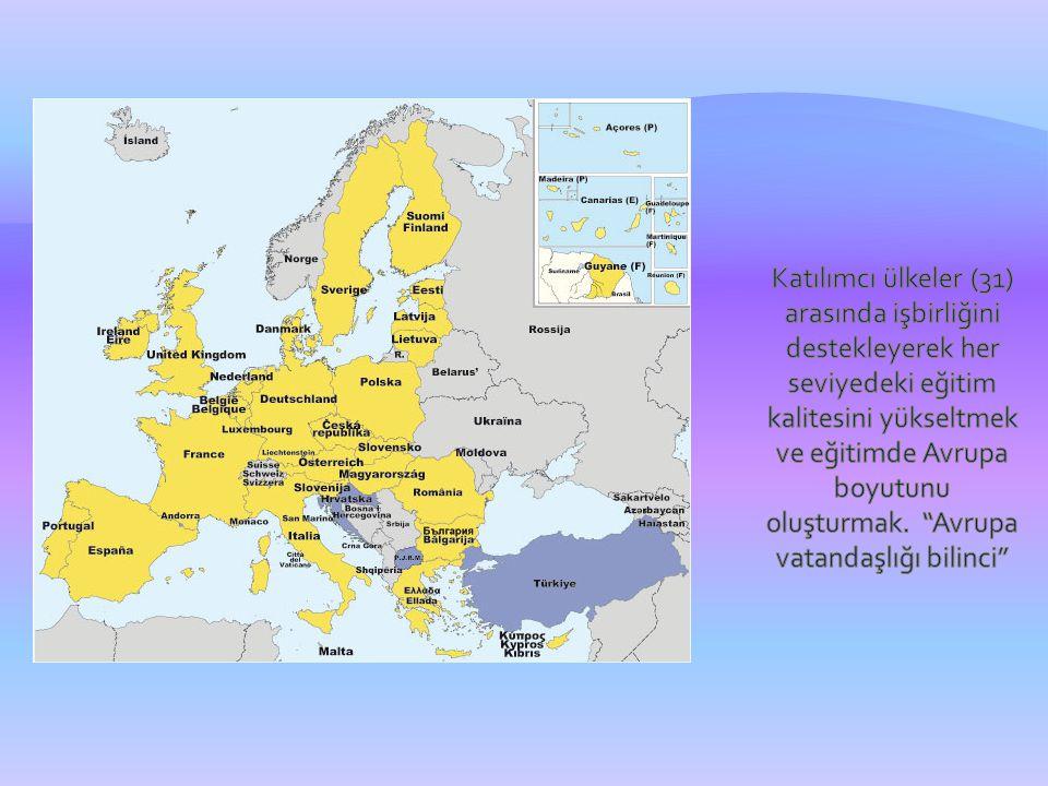 Katılımcı ülkeler (31) arasında işbirliğini destekleyerek her seviyedeki eğitim kalitesini yükseltmek ve eğitimde Avrupa boyutunu oluşturmak.