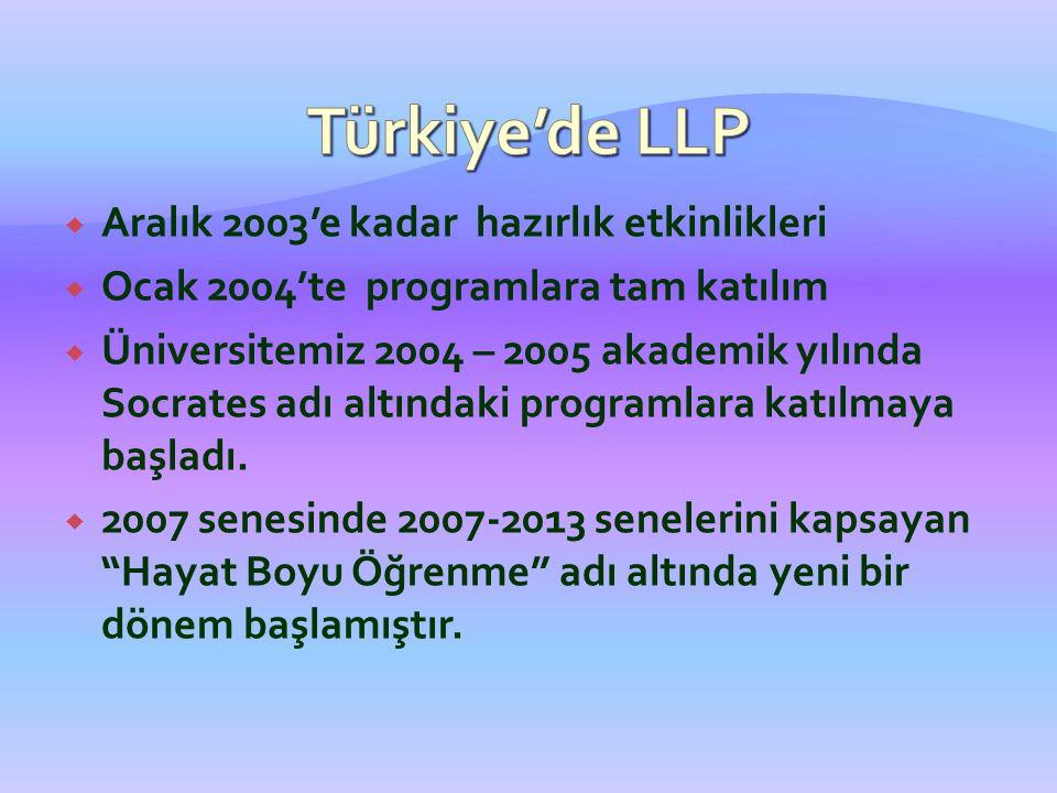 Türkiye'de LLP Aralık 2003'e kadar hazırlık etkinlikleri
