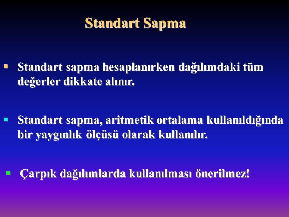 Standart Sapma Standart sapma hesaplanırken dağılımdaki tüm değerler dikkate alınır.