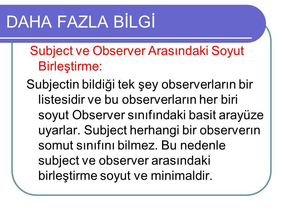 DAHA FAZLA BİLGİ Subject ve Observer Arasındaki Soyut Birleştirme: