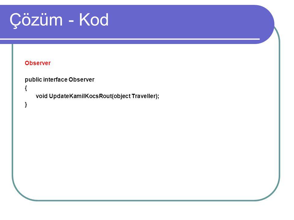 Çözüm - Kod Observer public interface Observer {